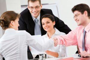 Handshake in the office